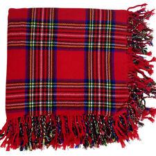 "Scottish Kilt Fly Plaid Royal Stewart Tartan Acrylic Wool 48""X48"" Purled Fringe"