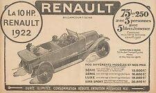 Y8099 RENAULT 10 HP - Listino Prezzi - Pubblicità d'epoca - 1922 Old advertising