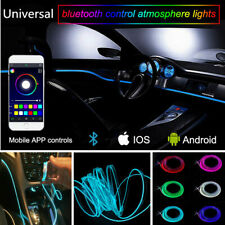 4x RGB LED Car Interior EL Neon Strip Light Sound Active Bluetooth Phone Control