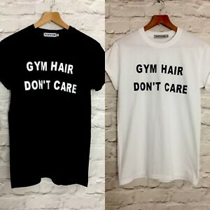 """VIOLET WOLVES """"GYM HAIR DON'T CARE"""" WOMENS SLOGAN T-SHIRT TOP GYM"""