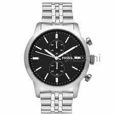 Fossil Original FS4784 Men's Townsman Silver Stainless Steel Watch 48mm Chrono