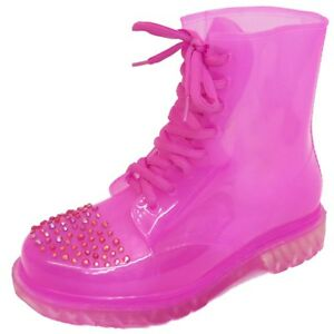 LADIES FLAT PINK CLEAR FESTIVAL JELLY WELLIES LACE-UP RAIN ANKLE BOOT SHOES 3-8
