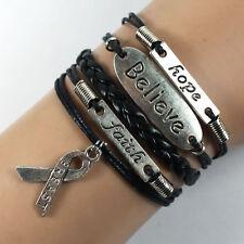 Bracelet noir ruban, believe, breast, faith,  lutte contre le cancer