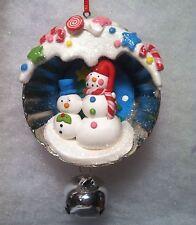 Indent Snowman Couple Candy scene  diorama Cupcake Tin Christmas Tree Ornament