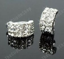 COMFY CLIP ON silver HUGGIE CRYSTAL studs STUD EARRINGS