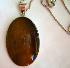 "Tiger Eye Silver Pendant 1.10"" x 1.50"" Oval with 16"" Chain Necklace"