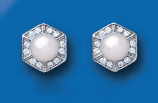 Pearl Earrings Silver Stud Solid Sterling Silver Studs Freshwater Cultured