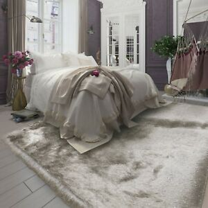 5'x7' Light Brown Champagne Glitter Shine Shag Plush Modern Area Carpet Rug New