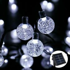 Solar Crystal Ball String 30 White LED Lights Multi Function Outdoors Powered 8m