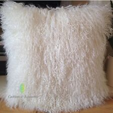 NATURAL WHITE 40*40CM GENUINE MONGOLIAN SHEEPSKIN LAMB FUR WOOL CUSHION WITH PAD