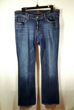 7 For All Man Kind Medium Wash Distressed Low Rise Flare Denim Jeans Size 32