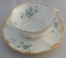 Theodore Haviland Limoges France Blue Roses Cup and Saucer