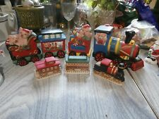 2 Vtg Ceramic Christmas Train Sets Homco 3 pcs Other 4 pcs Santa Bearss