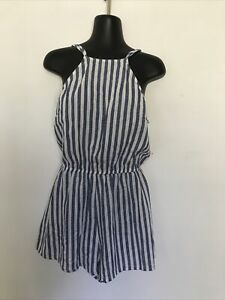 Toby Heart Ginger Playsuit Size M. Off White/ Blue