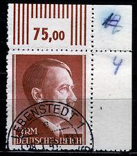 DR 801 A, O, 3 RM Hitler-Linienzähnung, Eckrand rechts oben