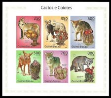 GUINEA 2010 DOGS COIOTES WILDLIFE FLOWERS CACTI SHEETLET IMPERF MNH