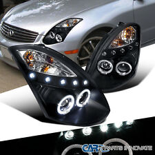 For Infiniti 03-07 G35 2Dr Coupe LED Halo Projector Headlights Lamp Black