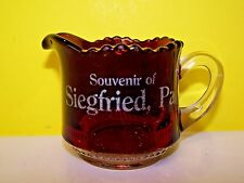 VINTAGE Ruby Flash Glass SOUVENIR GLASS SIEGFRIED PA NORTHAMPTON CEMENT INDUSTRY