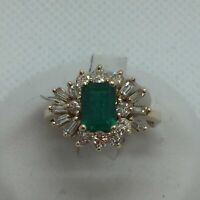14k Solid Gold Genuine Emerald & Diamond Ring, Size 6.25, 0.50CTW
