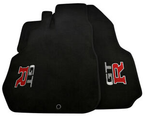 Floor Mats For Nissan GT-R Tailored Black Carpets Set With GTR Emblem LHD NEW