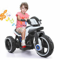 White  6V kids ride on car 3 Wheel Trike Boy Electric Motorcycle Outdoor Toy