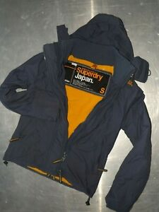 Superdry womens long sleeve blue parkas jacket fleece lining with hoody size S