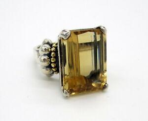 Vintage Huge LAGOS CAVIAR Sterling Silver 18k Yellow Gold 23 Carat Citrine Ring