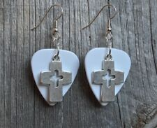 Cross with Cutout Charm Guitar Pick Earrings with Surgical Steel Earwires