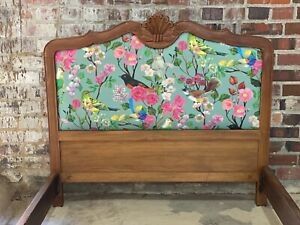 Vintage Antique French Upholstered Wood Twin Headboard Footboard Rails Free Ship