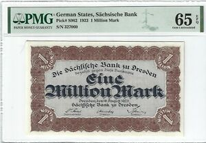 P-S962 1923 1 Million Mark, German States, Sachsische Bank, PMG 65EPQ