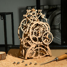 ROKR Vintage DIY Wooden Mechanical Pendulum Clock Kits Clockwork Home Decor Desk