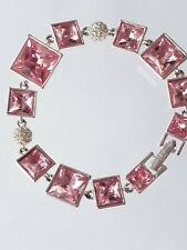 GIVENCHY PINK RHINESTONE CRYSTALS SILVER LINK BRACELET NEW VTG COUTURE HIGH END