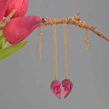 925 Silver Heart Couple Necklace Diamond Pave Gift For Friends Pendant Jewelry