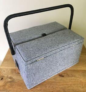 SEWING BASKET BOX Large Twin Lid BLACK & WHITE HERRINGBONE Classy Design