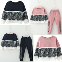 2PCS Child Kids Baby Girls Lace Pullover Sweatshirt Tops+Long Pants Outfits Set