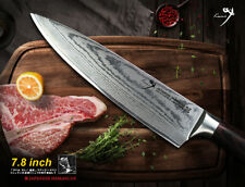 "Japanese Damascus Steel 7.8"" Chef's Knife Cookware Kitchen Cutlery Wood Handle"
