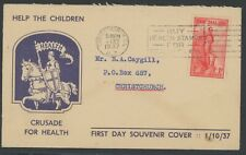 New Zealand, Fdc, #B12, With Nice Blue Cachet, 1937