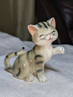 "Vintage 3.5"" Porcelain Grey Sitting Tiger Cat  Foot in Air Made  Japan"