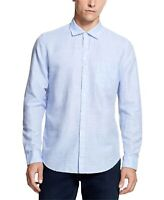 DKNY Mens Blue Size 2XL Yard Striped Linen Blend Button Down Shirt $79 #276