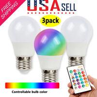 3Pack E26 E27 3W RGB LED Light Bulb 16 Color Changing Lamp IR Remote Control US