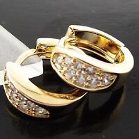 EARRINGS HUGGIE HOOP GENUINE 18K YELLOW G/F GOLD SOLID DIAMOND SIMULATED DESIGN