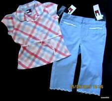 Tommy Hilfiger Girls Top Shirt Crop Capri Pants Blue Pink Plaid Set 4-4T NWT New