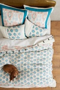 Anthropologie TASSELED ZALA Pillow Bed Sham EURO Quilted Cotton Coral Teal NWT