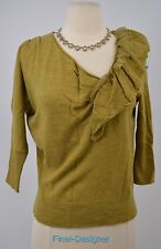 KNITTED & KNOTTED ANTHROPOLOGIE sweater top pullover fine knit wool lace S NEW