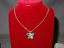 "Welsh Clogau 9ct Gold Butterfly Peridot & Blue Topaz Pendant 22"" Chain RRP £540"