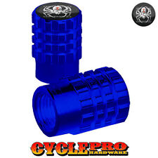 2 Blue Billet Knurled Tire Valve Cap Motorcycle - Blue Anodized SPIDER - 024