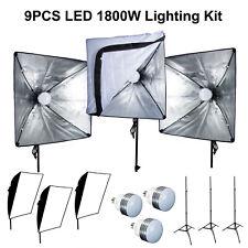 """9PC 1800W LED 20"""" Softbox Photo Studio Light Kit Photography Background Lighting"""