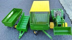 John Deer Ertl Pressed Steel And Plastic Farm Trailer Wagon With Tractor