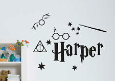Custom Harry Potter Name Wall Door Sticker Removable Nursery Kids Decal Glasses