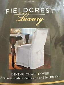 Fieldcrest Luxury embroidered white 100%  linen chair slipcover FREE SHIPPING